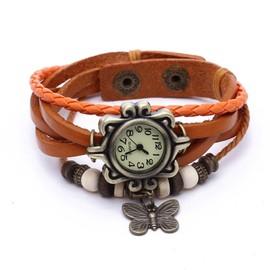 Montre Quartz Gourmette Bracelet Cuir Tress� Orange Papillon Boule Vintage Femme