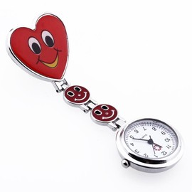 Montre Infirmi�re Rouge Mouvement � Quartz Forme Coeur Attache Epingle
