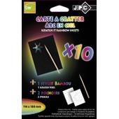 Jpc Pqt 10 Cartes � Gratter Arc En Ciel Format 10x15cm Avec 2 Pochoirs Et Stylet Bambou