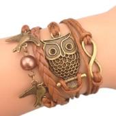 Bracelet Infini Chouette Hibou Perles Colombes Oiseaux Marron Karma