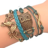 Bracelet Infini Chouette Hibou Oiseau Karma Infinity Bleu Et Bronze