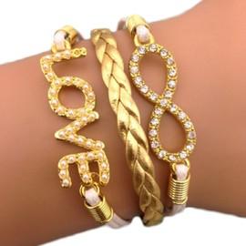 Bracelet Infini Dor� Or Karma Infinity Love Multibrins