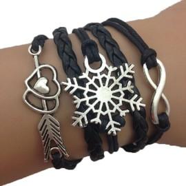 Bracelet Infini Fl�che C�Ur Noir Flocon Neige Etoile Karma