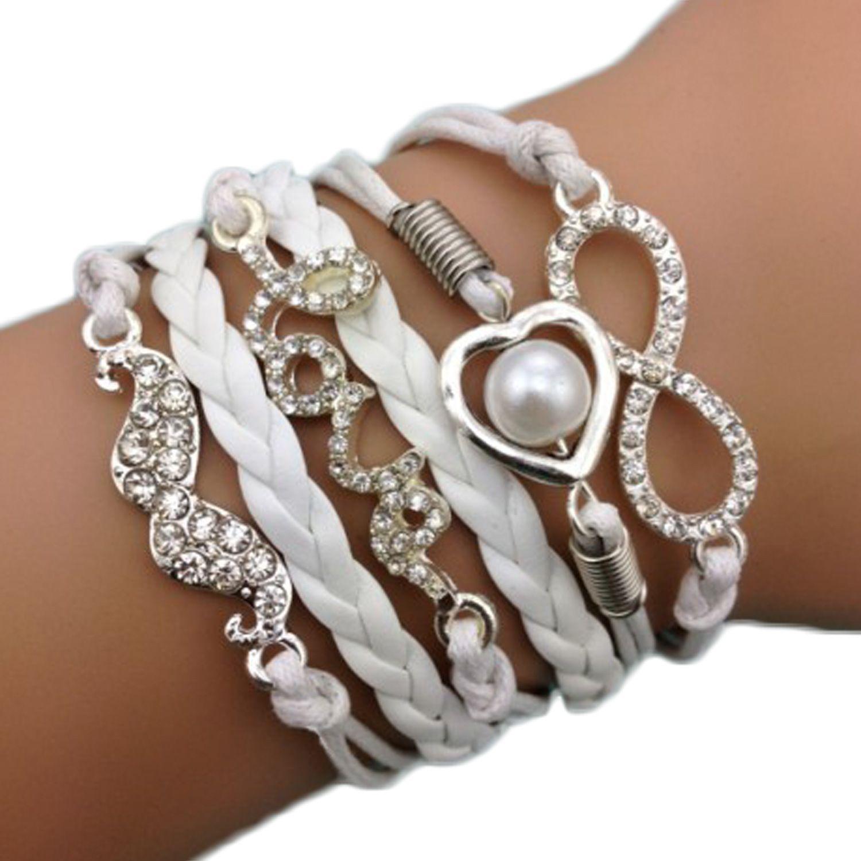 Bracelet Infini Strass C�Ur Love Perle Karma Brillants Multibrins