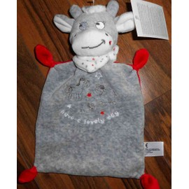 Doudou Vache Grise Rouge Baby Club Nicotoy Peluche Bebe Have A Lovely Day Gris Rouge Foulard Etoiles