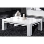 Table Basse Ultra Design Blanc Laqu� Avec Strass