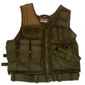 Gilet / Veste Tactique Od Vert Multipoches Reglable Avec Ceinture Et Holster Swiss Arms 604051 Airsoft Cybergun
