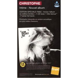 plv 14x25cm cartonnée rigide CHRISTOPHE album INTIME / magasins FNAC