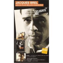 plv 14x25cm cartonnée rigide JACQUES BREL les 50 plus belles chansons / magasins FNAC