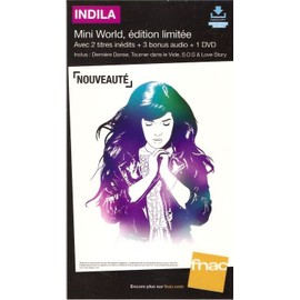 plv 14x25cm cartonnée rigide INDILA mini world édition limitée / magasin FNAC