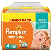 Pampers Couches Simply Dry Jumbo Pack Taille 4 Maxi 7 � 18 Kg X 74 Changes - Lot De 2 (148 Couches)