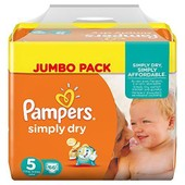 Pampers Couches Simply Dry Jumbo Pack Taille 5 Junior 11 � 25 Kg X 66 Changes