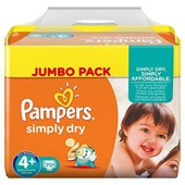 Pampers Simply Dry Taille 4+, 9 A 20kg 70 Couches