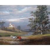 Johan Christian Clausen Dahl Poster Reproduction Sur Toile, Tendue Sur Ch�ssis - Paysage De Pedersborg Pr�s De Sor� Et �glise De Pedersborg, 1832 (40x50 Cm)