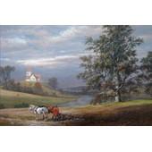 Johan Christian Clausen Dahl Poster Reproduction Sur Toile, Tendue Sur Ch�ssis - Paysage De Pedersborg Pr�s De Sor� Et �glise De Pedersborg, 1832 (80x120 Cm)