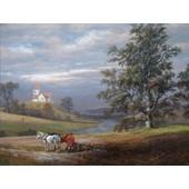 Johan Christian Clausen Dahl Poster Reproduction Sur Toile, Tendue Sur Ch�ssis - Paysage De Pedersborg Pr�s De Sor� Et �glise De Pedersborg, 1832 (60x80 Cm)
