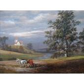 Johan Christian Clausen Dahl Poster Reproduction - Paysage De Pedersborg Pr�s De Sor� Et �glise De Pedersborg, 1832 (60x80 Cm)