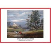 Poster Encadr�: Johan Christian Clausen Dahl - Paysage De Pedersborg Pr�s De Sor� Et �glise De Pedersborg, 1832 (61x91 Cm), Cadre Plastique, Rouge