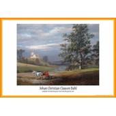 Poster Encadr�: Johan Christian Clausen Dahl - Paysage De Pedersborg Pr�s De Sor� Et �glise De Pedersborg, 1832 (61x91 Cm), Cadre Plastique, Orange