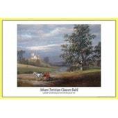 Poster Encadr�: Johan Christian Clausen Dahl - Paysage De Pedersborg Pr�s De Sor� Et �glise De Pedersborg, 1832 (61x91 Cm), Cadre Plastique, Jaune