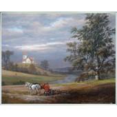 Poster Reproduction Encadr�: Johan Christian Clausen Dahl - Paysage De Pedersborg Pr�s De Sor� Et �glise De Pedersborg, 1832 (40x50 Cm), Cadre Plastique, Blanc