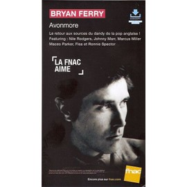 plv 14x25cm cartonnée rigide BRYAN FERRY ( roxy music ) AVONMORE / magasins FNAC
