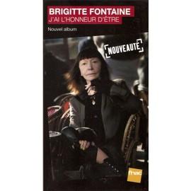 plv 14x25cm cartonnée rigide BRIGITTE FONTAINE j'ai l'honneur d'être / magasins FNAC
