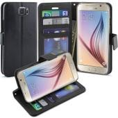 Housse Etui Coque Cuir Orientable Porte Carte + Stylet - Noir / Samsung Galaxy S6 Edge