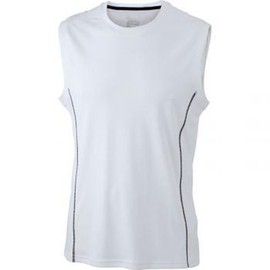 T-Shirt D�bardeur Respirant Running Jn423 - Blanc - Homme - Sans Manches - Course � Pied