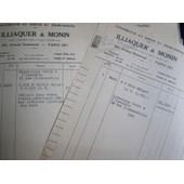 2 Factures Illiaquer & Monin (Charbons) 1949/59