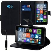Microsoft Nokia Lumia 640 Lte/ 640 Dual Sim: Etui Portefeuille Livre Housse Coque Pochette Support Vid�o Cuir Pu+ Stylet- Noir