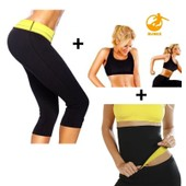 Ensemble Hot Shapers Pantalon + Gilet + Ceinture De Sudation Intensive Sauna Minceur Sportif