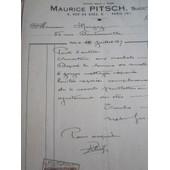 Facture : M. Pitsch, Serrurerie, Charpente En Fer (Avec Timbre D.A. 25 C & Re�u Avec Timbre D.A. 50 C. 1937