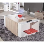 Charly Table Basse Modulable Col. Chene Et Blanc
