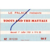 Ticket Billet Entr�e Place Concert Toots And The Maytals 1981 Paris