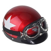Casque Helmet Rouge �toile + Visi�re Amovible Goggle Protection Pr Moto Scooter