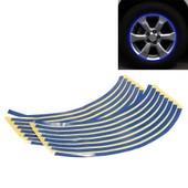 Set 18 Sticker Autocollant Liseret Jante Roue Etanche Bleu 10mm Voiture Moto