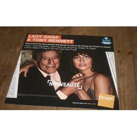 plv souple 30x30cm LADY GAGA & TONY BENNETT cheek to cheek / magasin FNAC