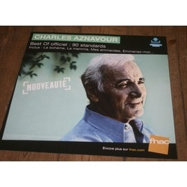 plv souple 30x30cm CHARLES AZNAVOUR best of officiel 90 standards / magasins FNAC