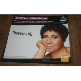plv souple 30x30cm ARETHA FRANKLIN sings the greatest diva classics / magasins FNAC