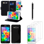 Samsung Galaxy Grand Prime Sm-G530f/ G530fz/ G530y/ Sm-G530h/ G530fz/Ds: Lot Coque Etui Housse Pochette Accessoires Silicone Gel Films Stylet Portefeuille Support Video - Noir