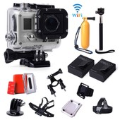 SJ5000 WiFi Sans Fil Action Sport Cam Cam�ra HD 1080P 20MP Cam�scope DV DVR + 2PS Batteries + Bo�tier �tanche + Self-timer Monopod + Kit d'accessoires Set pour Gopro LF643