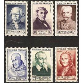 france 1953 - série personnages : 945 saint bernard, 946 o. de serres, 947 rameau, 948 monge, 949 michelet, 950 lyautey, neufs** luxe
