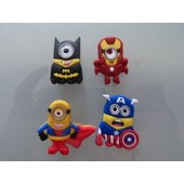4 Clips Pins Minions Super Heros Pour Chaussure Sabot Crocs - Neuf