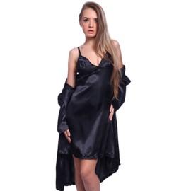 Lot De 4 Pcs Ensemble Lingerie Sexy Nuit Robe De Chambre Nuisette En Satin Noir Violet Pr Femme Fille