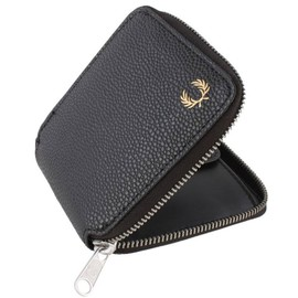 Noir Grain Scotch Zip Around Portefeuille De Fred Perry