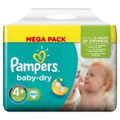 Pampers Baby Dry Taille 4+ (Maxi+) 9 A 20 Kg Couches Mega Pack X80 Changes