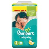 Pampers Baby-Dry Taille 3 (Midi) 4-9 Kg Couches M�ga Pack X104 Changes