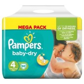 Pampers Baby Dry Taille 4 (Maxi) 7 A 18 Kg Couches Mega Pack X86 Changes