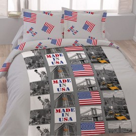 Housse De Couette 220 X 240 +2 Taies 60x60 Cm Downtown New York Microfibre